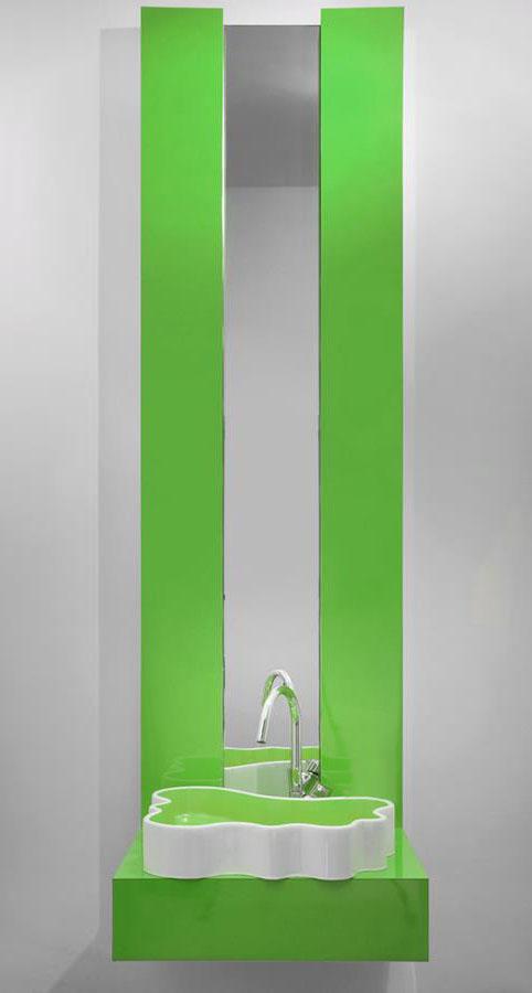 szafka lazienkowa w kolorze zielonym